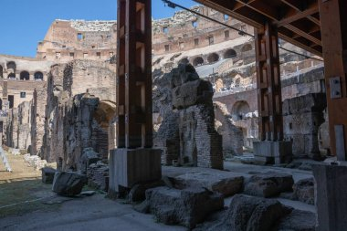 Panoramic view of interior of Colosseum in Rome