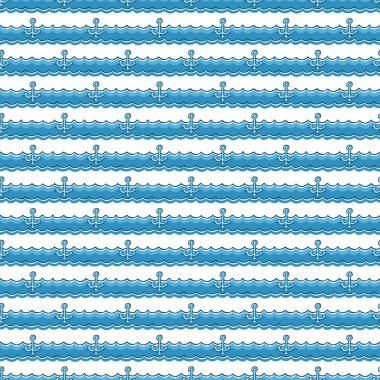 Nautical pattern, anchors on waves. Summer background
