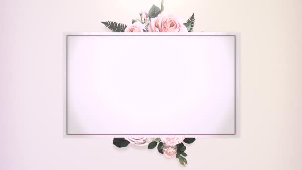 Primo piano cornice vintage con movimento fiori, sfondo di nozze