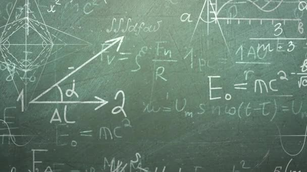 Closeup mathematical formula and elements on blackboard, school background of education theme