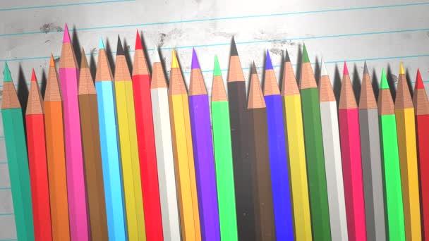 Nahaufnahme Buntstift auf Papier, Schulhintergrund des Bildungsthemas