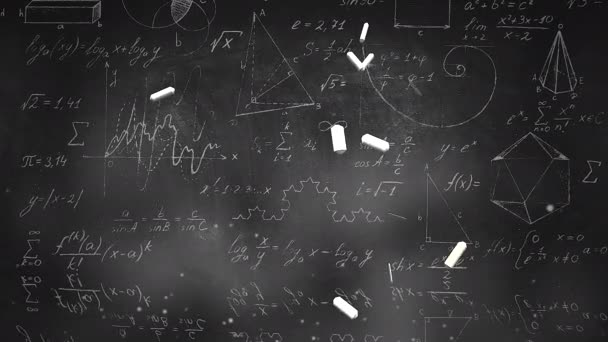 Closeup mathematical formula and elements on blackboard, school background