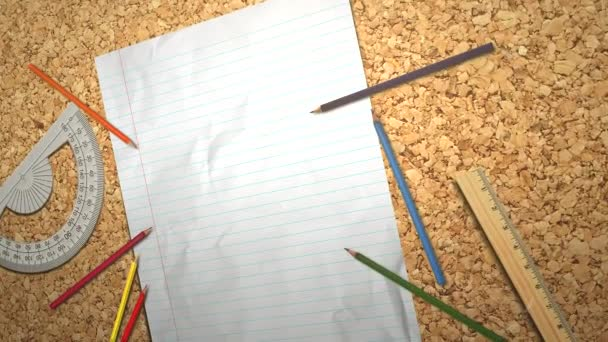 Closeup, studentský stůl s notebookem a tužkou, školní zázemí