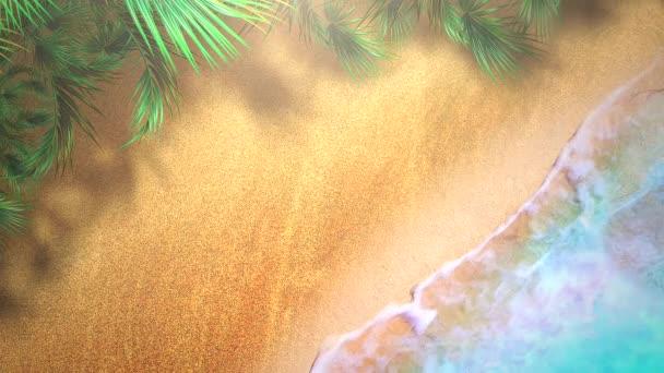 Closeup sandy beach with blue waves of ocean, summer background