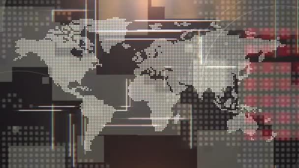 Novinky intro grafická animace s liniemi a světovou mapou, abstraktní pozadí