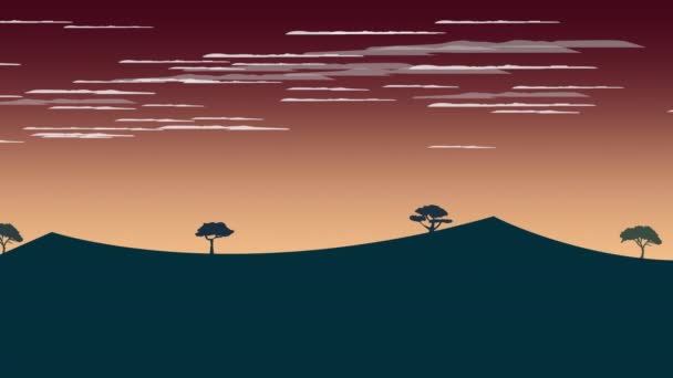 Cartoon animation background with sunset and mountain, abstract backdrop