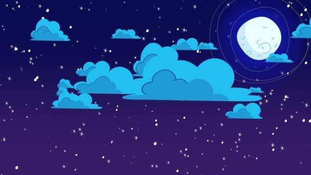 Zeichentrickfilm Hintergrund mit Bewegungswolken und Mond, abstrakter Hintergrund