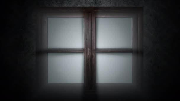 Tajemné hororové pozadí se zavřeným oknem. Holiday Halloween abstraktní pozadí