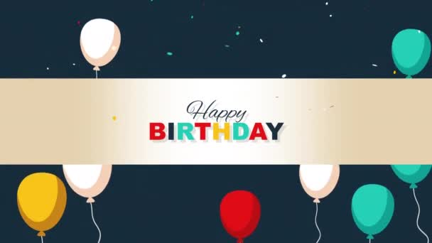 animovaný detailní up šťastný narozeninový text na pozadí dovolené