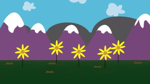 Cartoon animace pozadí s květinami a horami, abstraktní pozadí