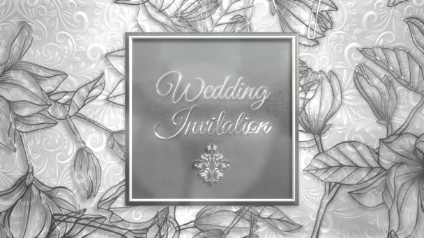 Closeup text Wedding Invitation and vintage frame with flowers motion, wedding background