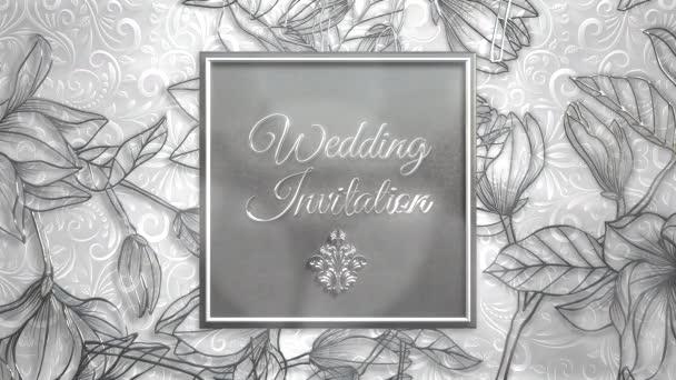 Closeup text Svatba Pozvánka a vintage rám s květinami pohybu, svatební pozadí