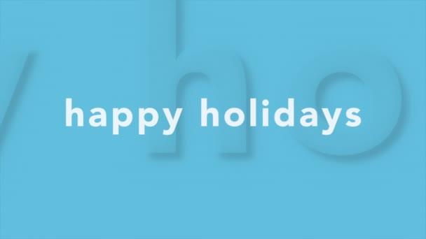 Animation Intro Text Frohe Feiertage auf blauer Mode und Minimalismus Hintergrund