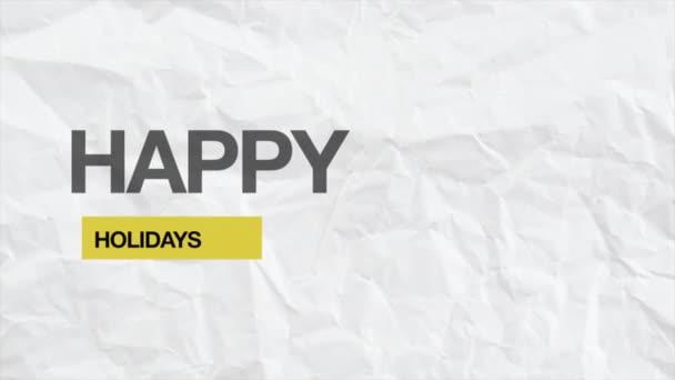Animáció intro szöveg Boldog ünnepeket fehér hipszter és grunge háttér