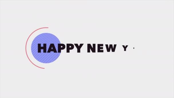 Animáció intro szöveg Boldog új évet a fehér divat és minimalizmus háttér geometrikus alakú