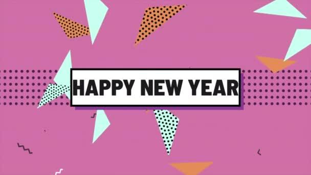 Animace text Šťastný nový rok a pohyb abstraktní geometrické tvary, Memphisu pozadí