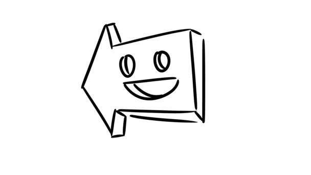 Kreslený šipka. Legrační ručně tažené šipka s úsměvem. Smyčky animace.