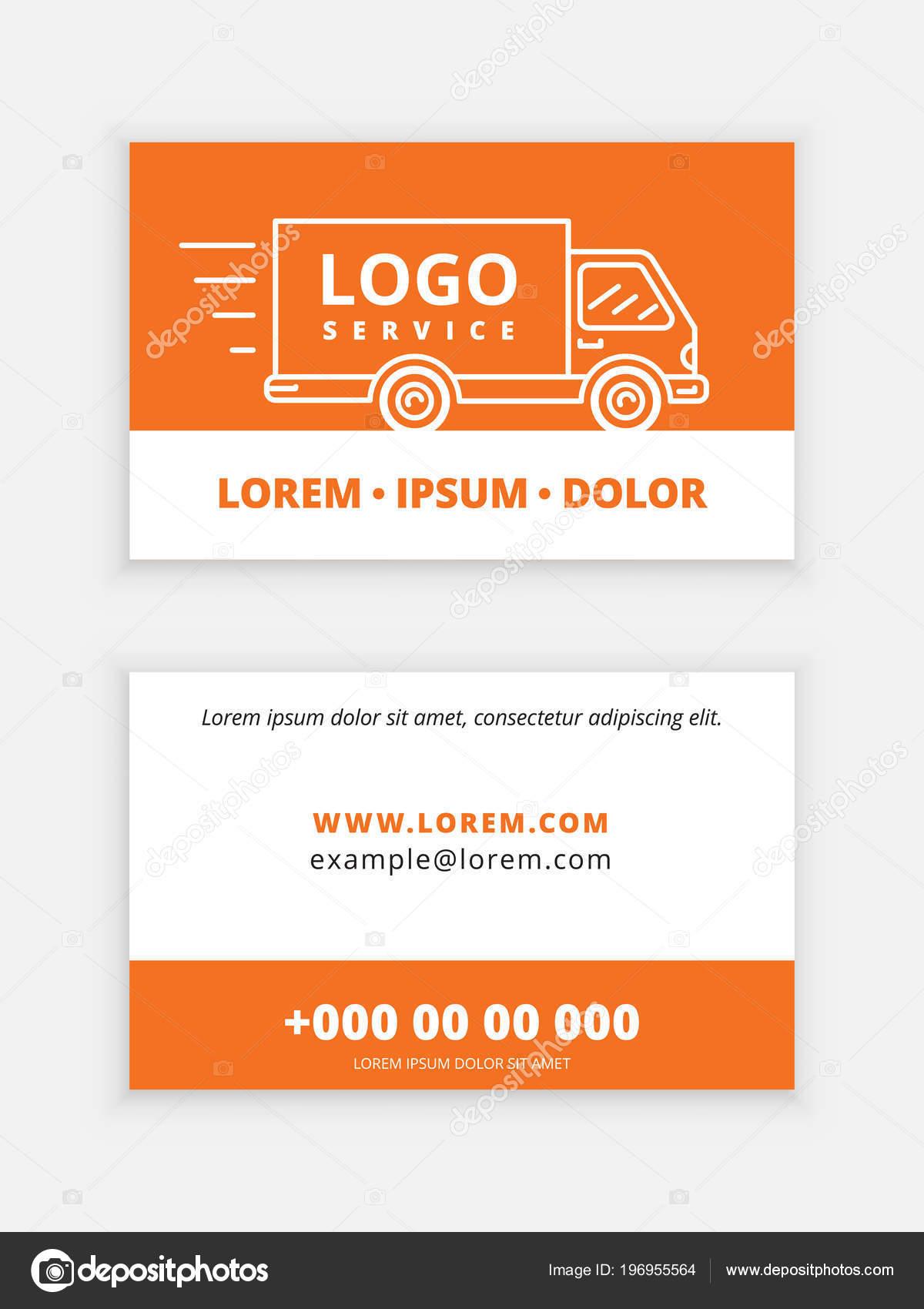 Modle De Carte Visite Vecteur Pour Service Livraison Brochure Avec Limage La Voiture Sur Couverture Logo