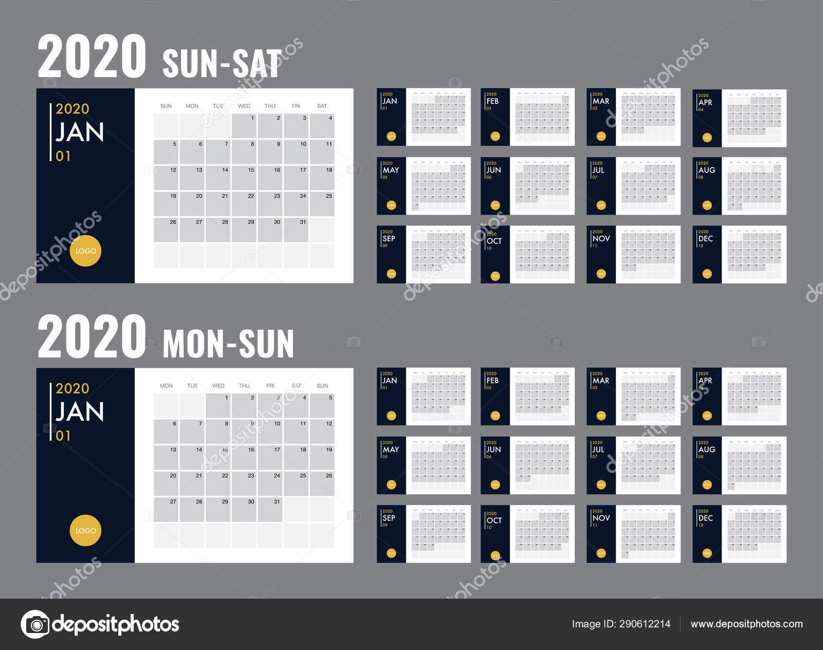 Calendario Diario 2020.Calendario 2020 Diario Vectorial Del Planificador De