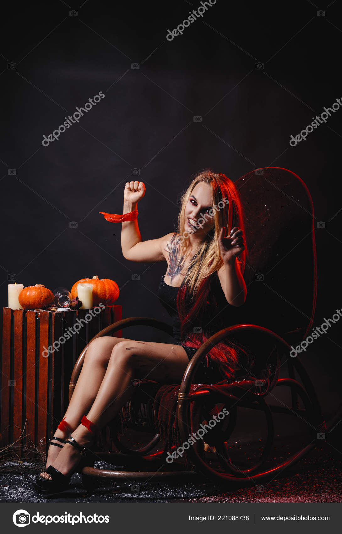 Fabulous Halloween Concept Girl Vampire Red Eyes Red Lips Sit Rocking Forskolin Free Trial Chair Design Images Forskolin Free Trialorg