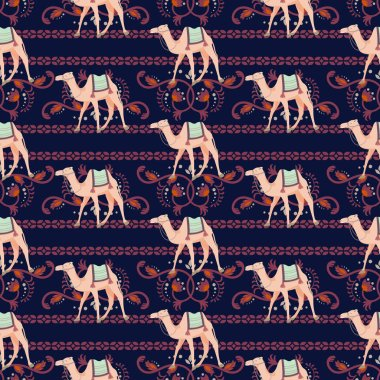 Vector seamless pattern with camels and oriental decorative motifs.