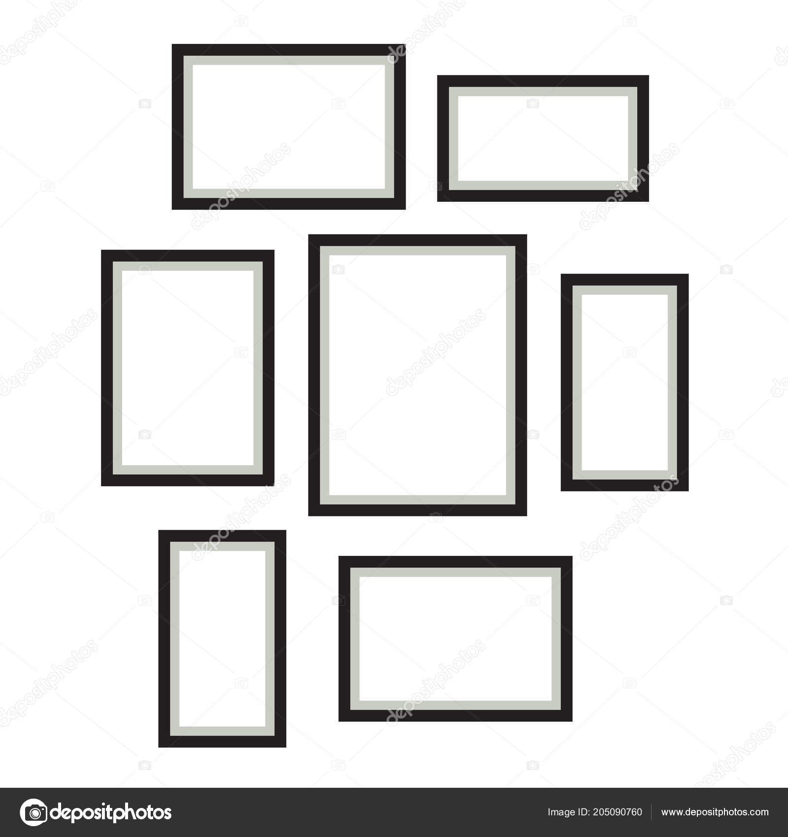 Photo Frame Template Vector Set Hanging On Wall Stock Vector