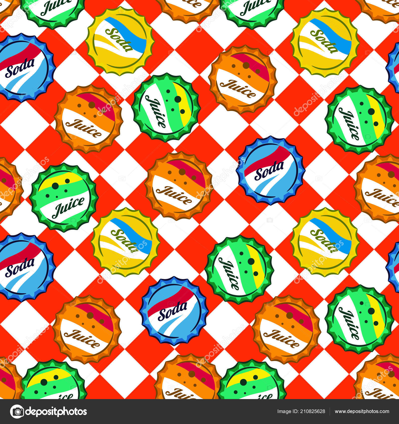 Seamless retro soda bottle caps pattern vector on red and