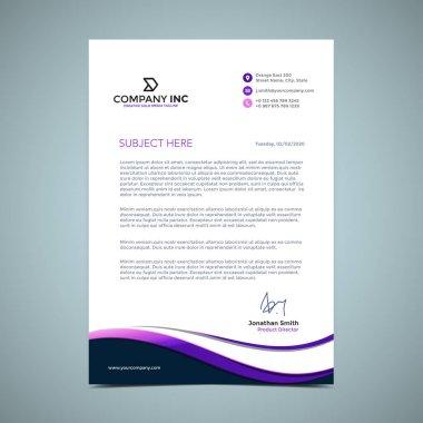 Purple Curves Letterhead Design