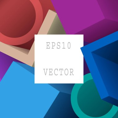 Abstract Colorful Geometric 3d Objects. Modern Background Design with Text Space. EPS 10 Vector.