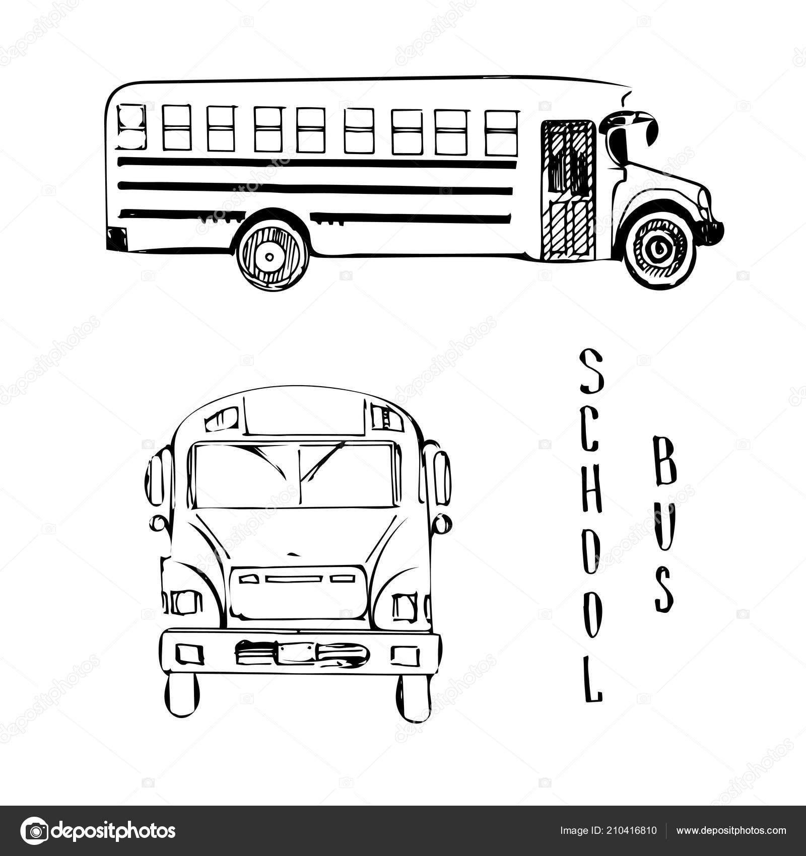 Illustration De School Bus Jaune Dessin Vectoriel De Vue