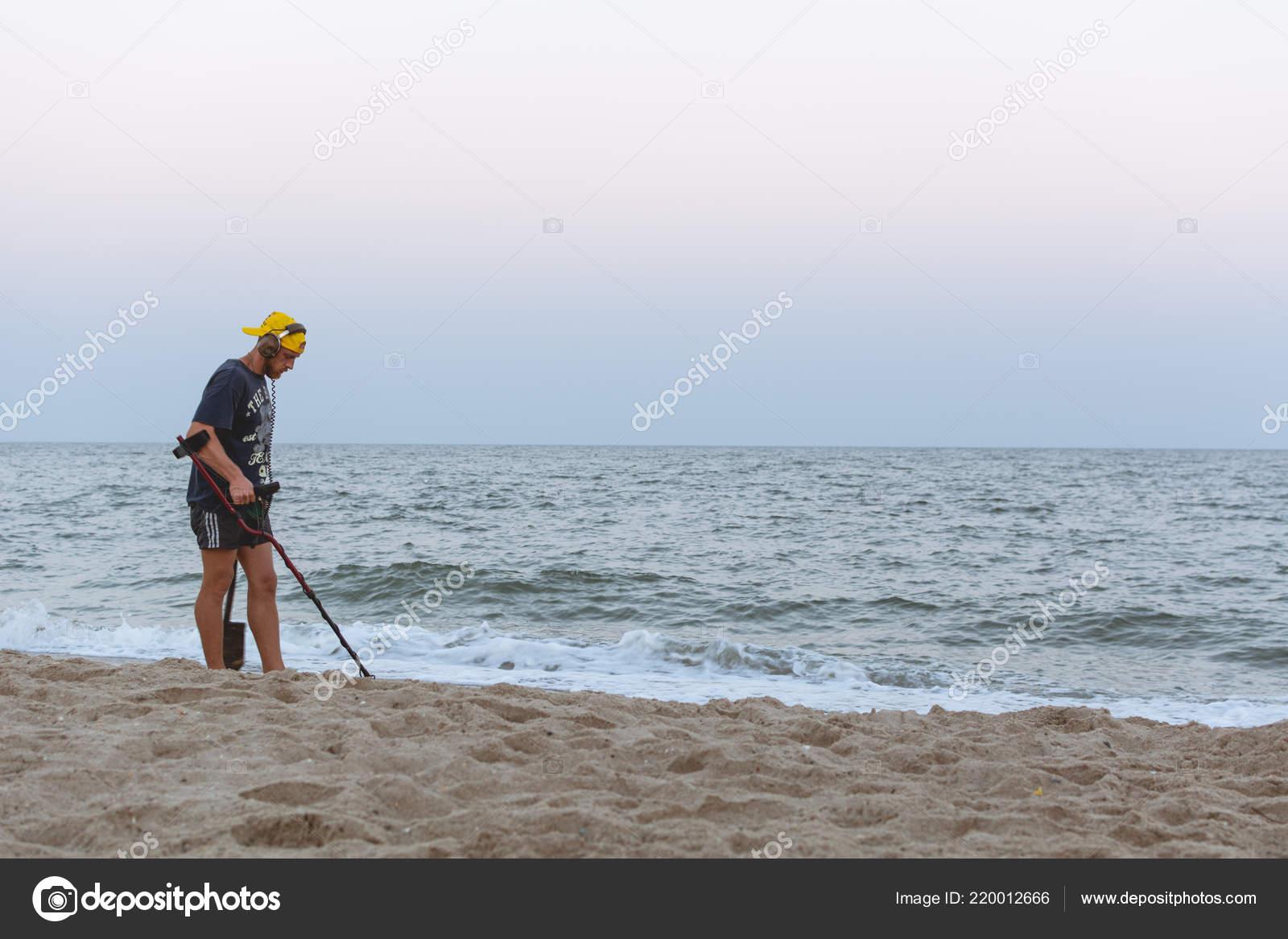 Treasure Hunter Metal Detector Walks Beach Black Sea Sunset