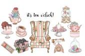 Kolekce Shabby Chic položek a tea Party set - ručně vyráběné rastrové klip umění