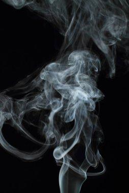 White smoke texture on black background
