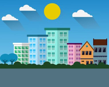 City vector on morning time vector design.
