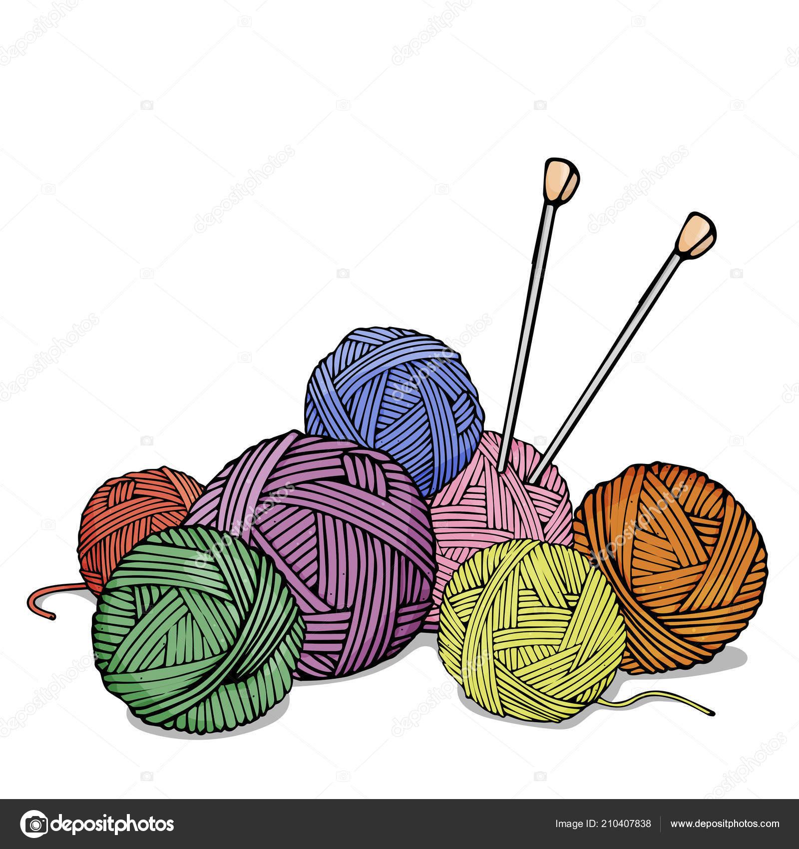Ovillos de diferentes colores de lana para tejer y agujas de tejer ...