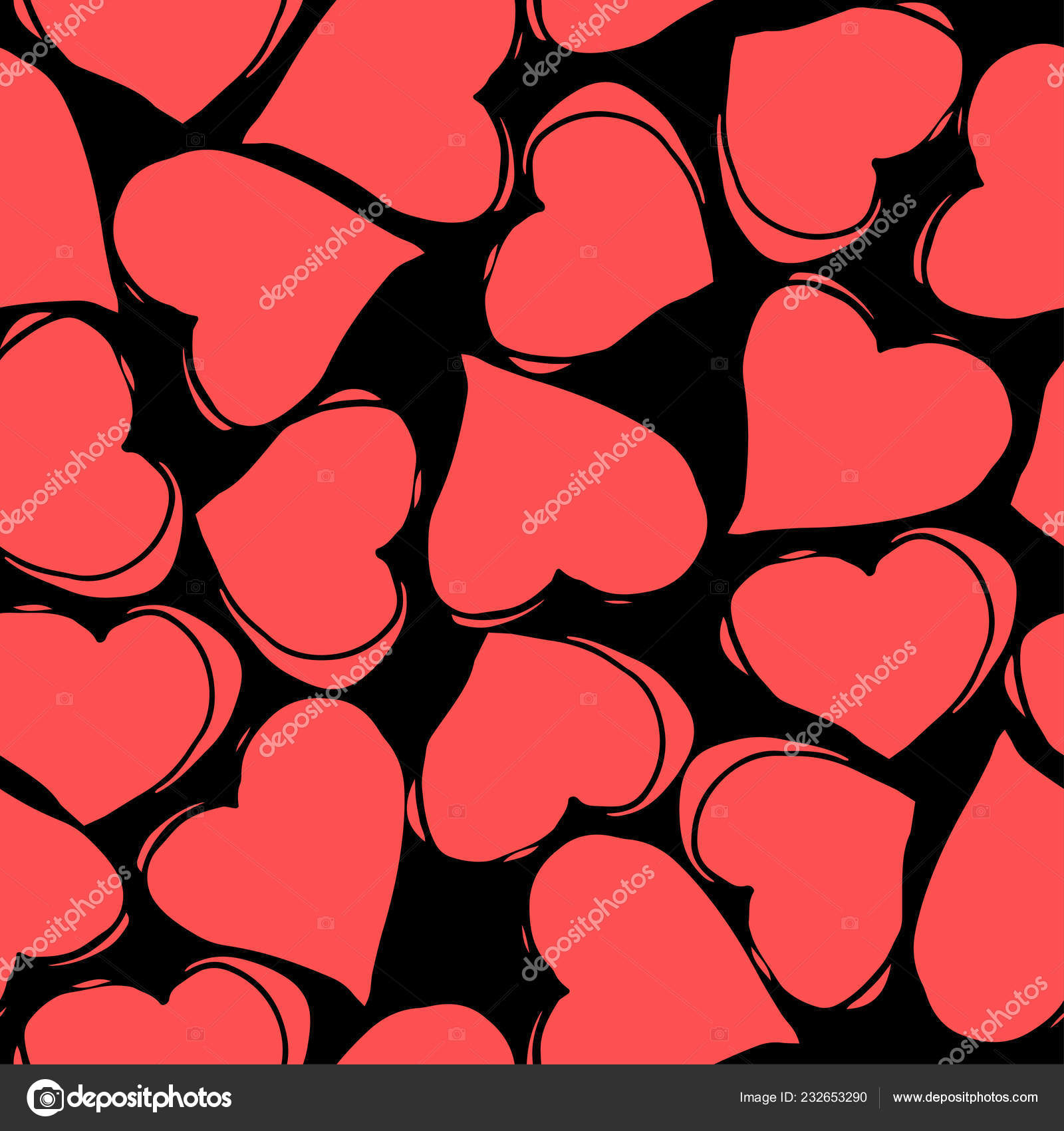 Red And Black Hearts Wallpaper Seamless Pattern With Red Hearts