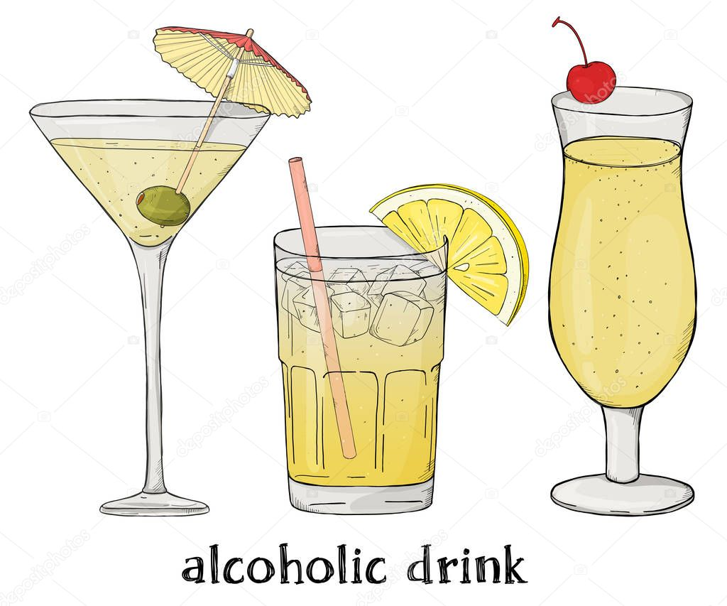 Set of three alcoholic drinks. Colorful vector illustration in sketch style.