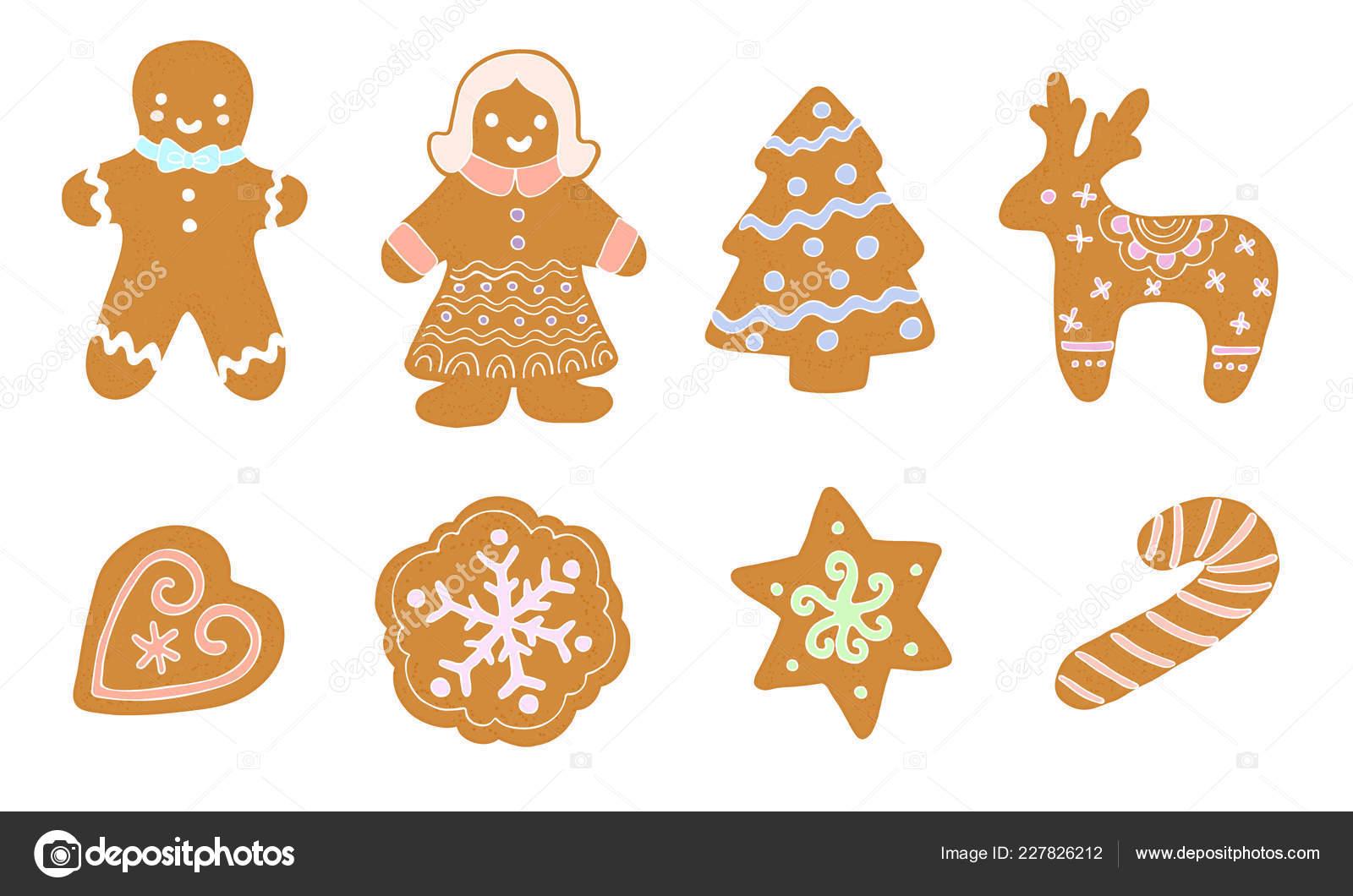 Set Christmas Cookies Cartoon Style Vector Stock Vector C Insh1na