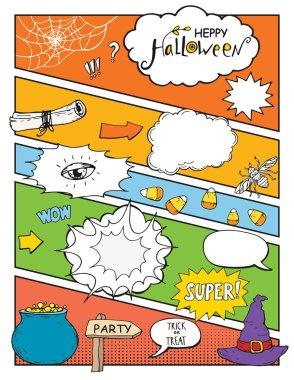 Halloween background comic style, vector illustration