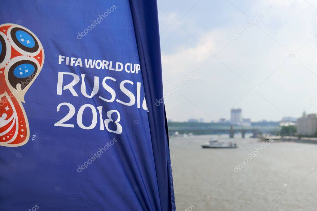 Moscow ,Russia - June 23,2018. a Fifa World Cup flags on Crimean Bridge in Moscow