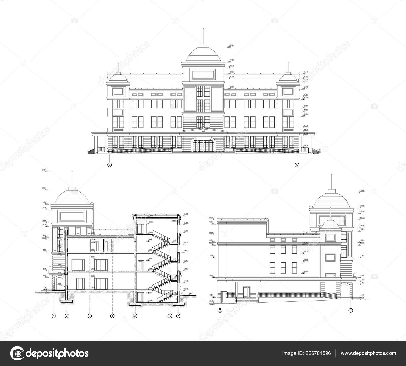 Vicepodlazni Budova Fasadou Sekce Detailnich Architektury Technicke