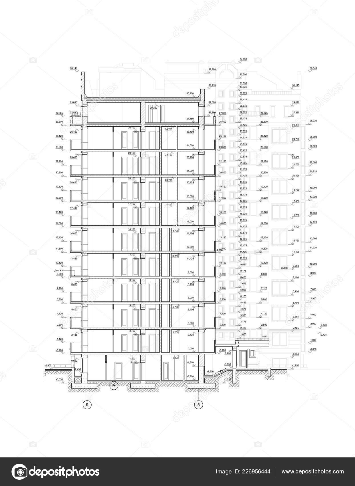 Vicepodlazni Budovy Sekce Detailnich Architektury Technicke Kresby