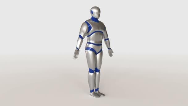 3D-Modell des humanoiden Roboters metallische Kunststoff auf weißem Hintergrund.