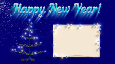 Mockup poster with Christmas tree and snow on the blue background. New Year, spruce with illuminated garland and Christmas balls. 3D rendering