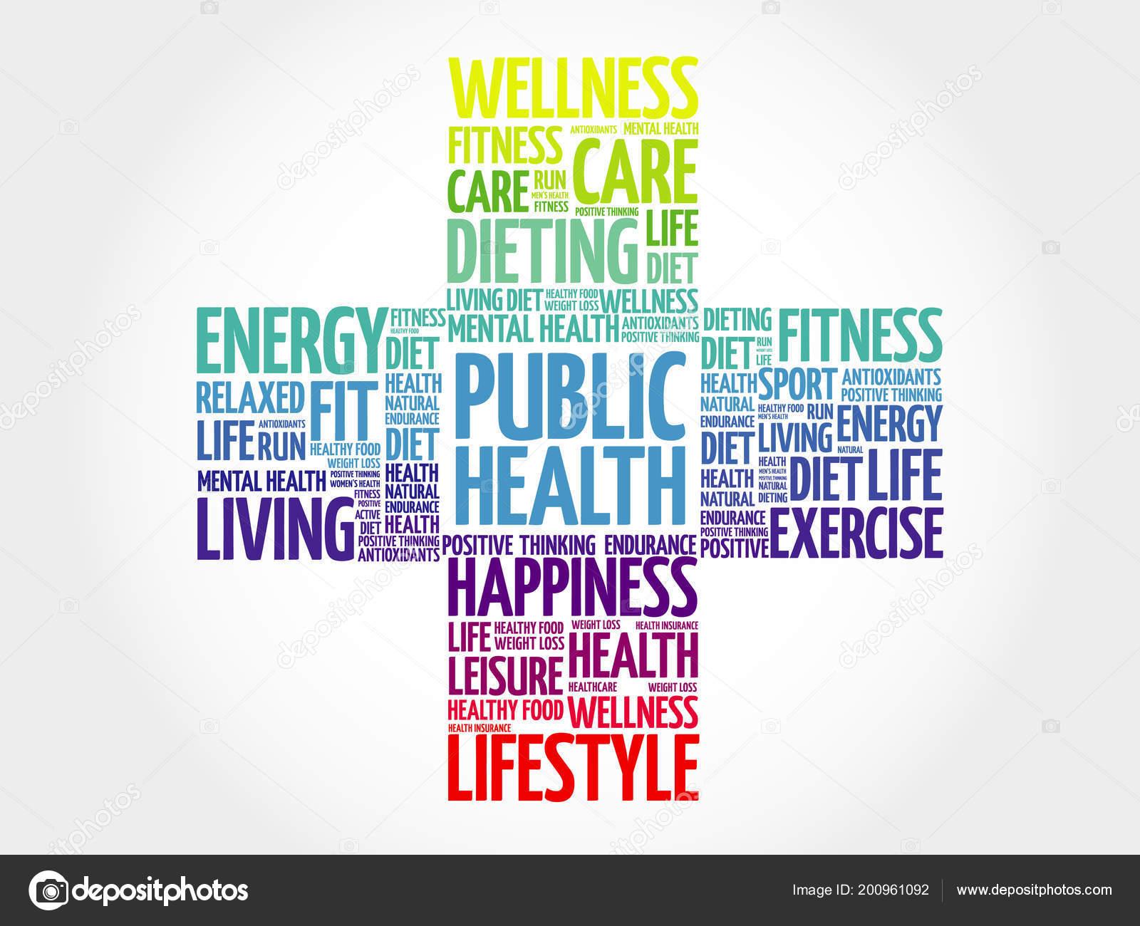 Public Health Word Cloud Health Cross Concept Background Stock