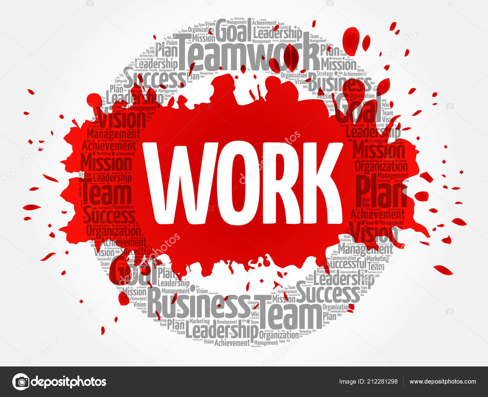 work word cloud collage business concept background stock vector