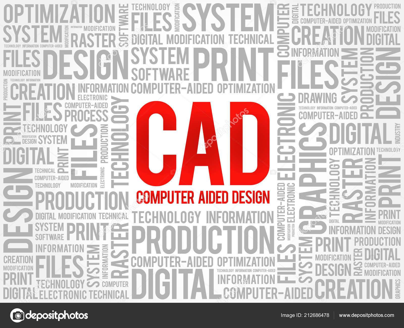 Cad Computer Aided Design Word Cloud Business Concept Background Stock Vector C Dizanna 212686478