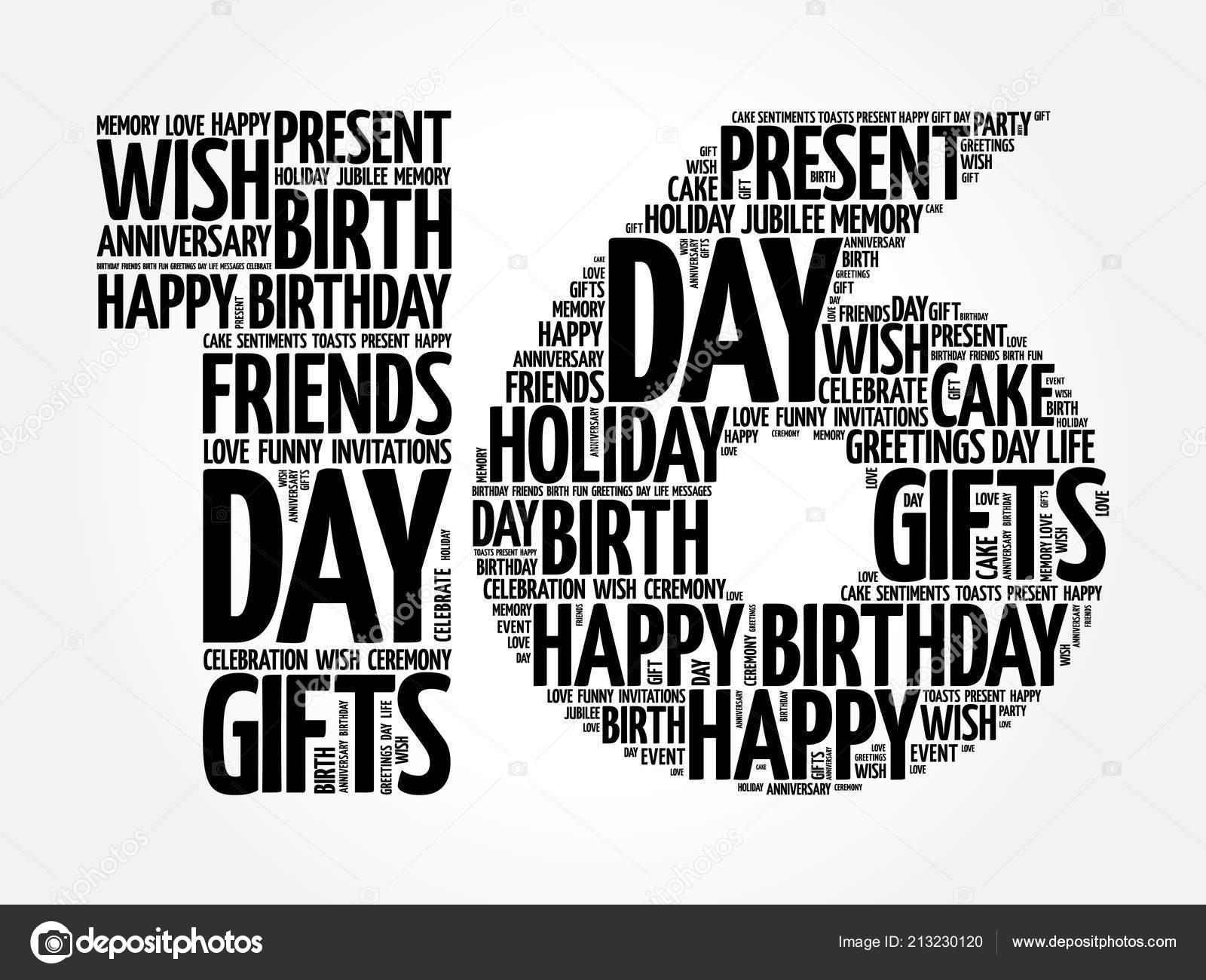 16de Verjaardag.Gelukkig 16de Verjaardag Word Cloud Collage Concept