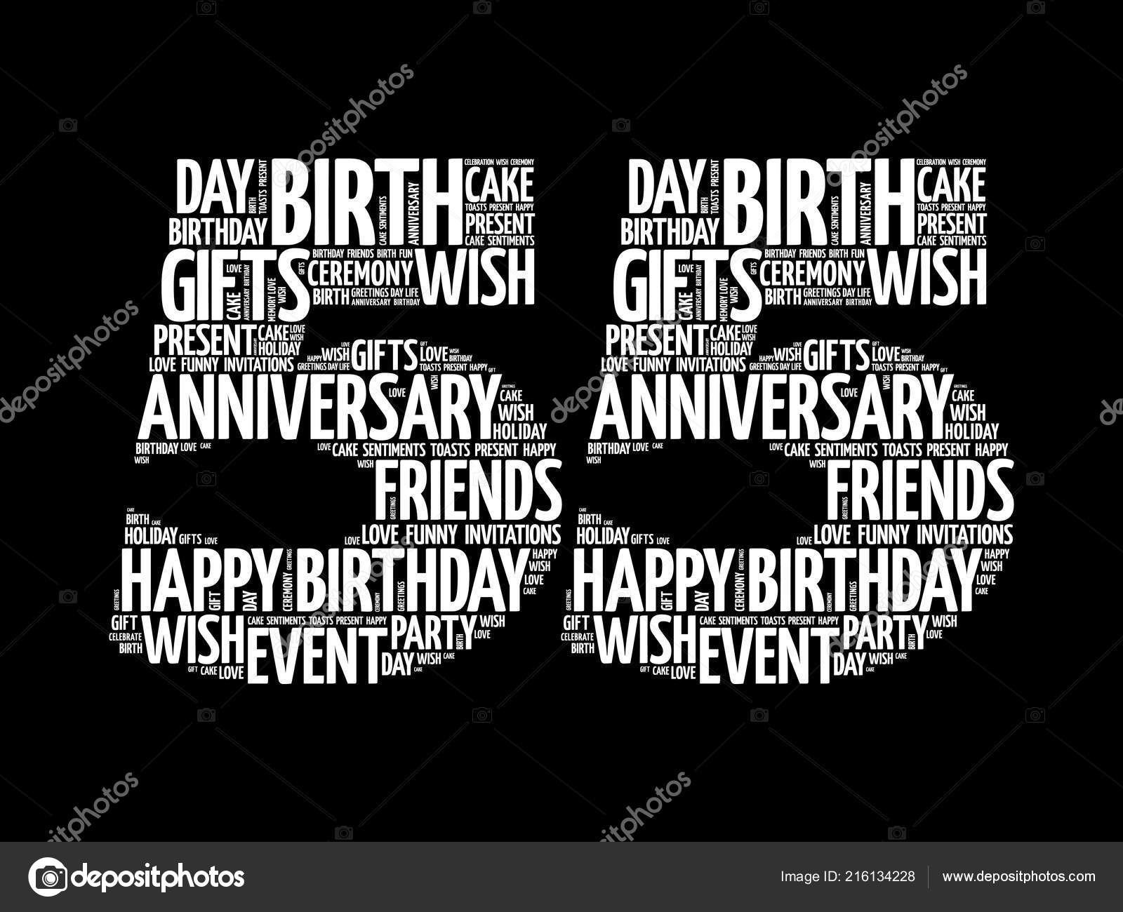 Happy 55Th Birthday Word Cloud Collage Concept Stock Vector
