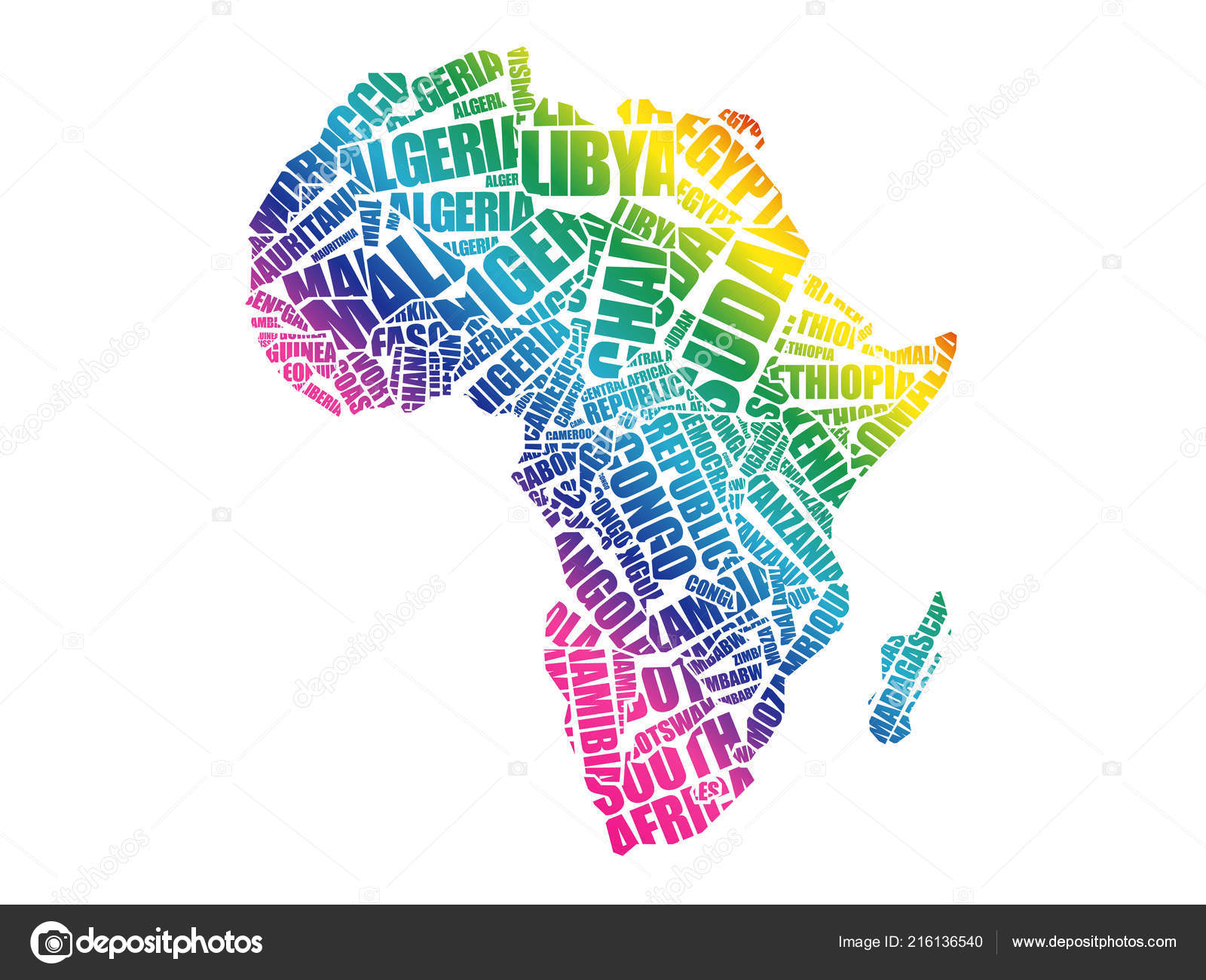 African Countries Map Typography Word Cloud Concept Names ...